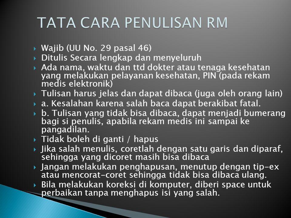 TATA CARA PENULISAN RM Wajib (UU No. 29 pasal 46)