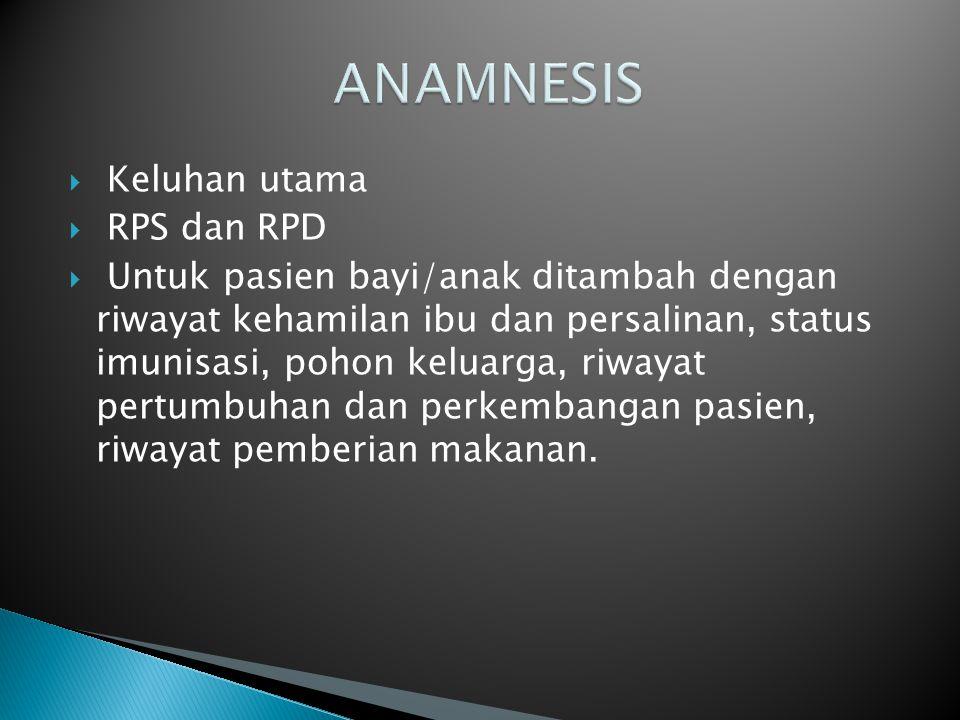 ANAMNESIS Keluhan utama RPS dan RPD
