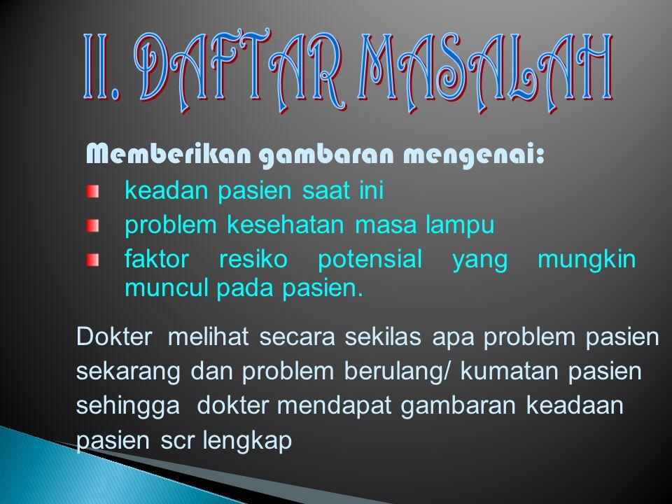 II. DAFTAR MASALAH Memberikan gambaran mengenai: