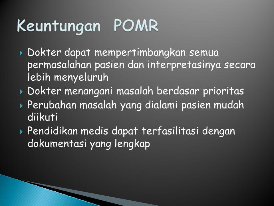 Keuntungan POMR Dokter dapat mempertimbangkan semua permasalahan pasien dan interpretasinya secara lebih menyeluruh.