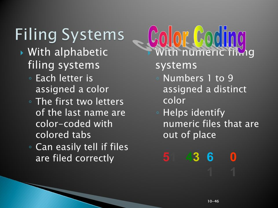 Filing Systems Color Coding 51 61 01 43 With alphabetic filing systems