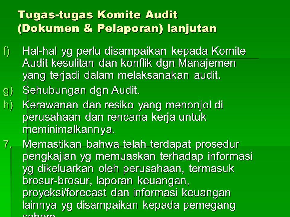 Tugas-tugas Komite Audit (Dokumen & Pelaporan) lanjutan