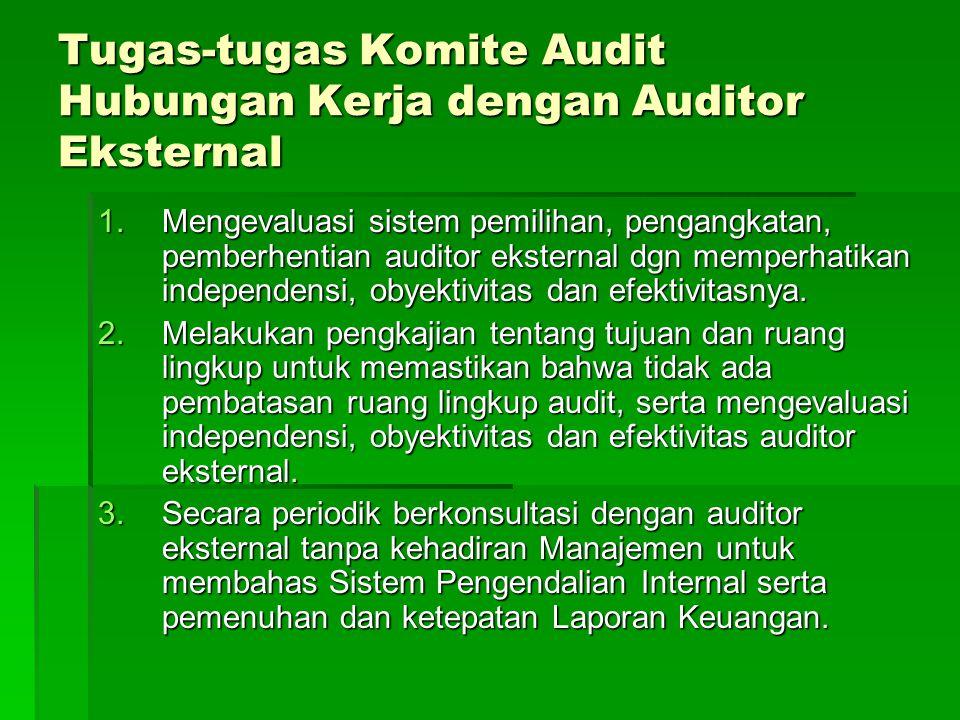Tugas-tugas Komite Audit Hubungan Kerja dengan Auditor Eksternal