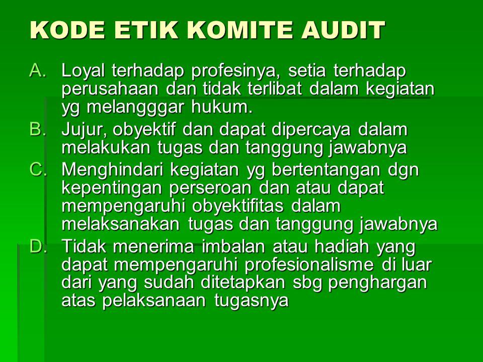 KODE ETIK KOMITE AUDIT Loyal terhadap profesinya, setia terhadap perusahaan dan tidak terlibat dalam kegiatan yg melangggar hukum.