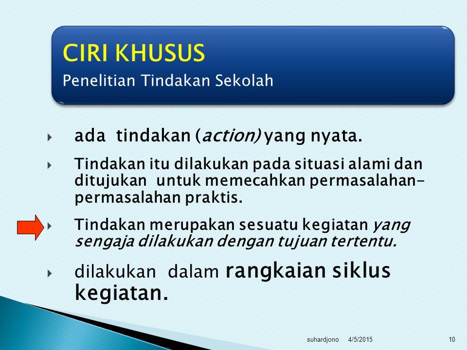 CIRI KHUSUS ada tindakan (action) yang nyata.