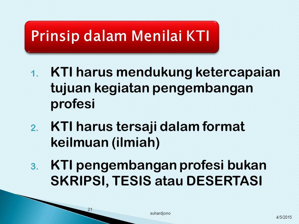 KTI harus mendukung ketercapaian tujuan kegiatan pengembangan profesi