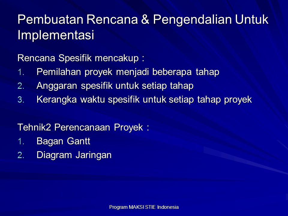 Pembuatan Rencana & Pengendalian Untuk Implementasi