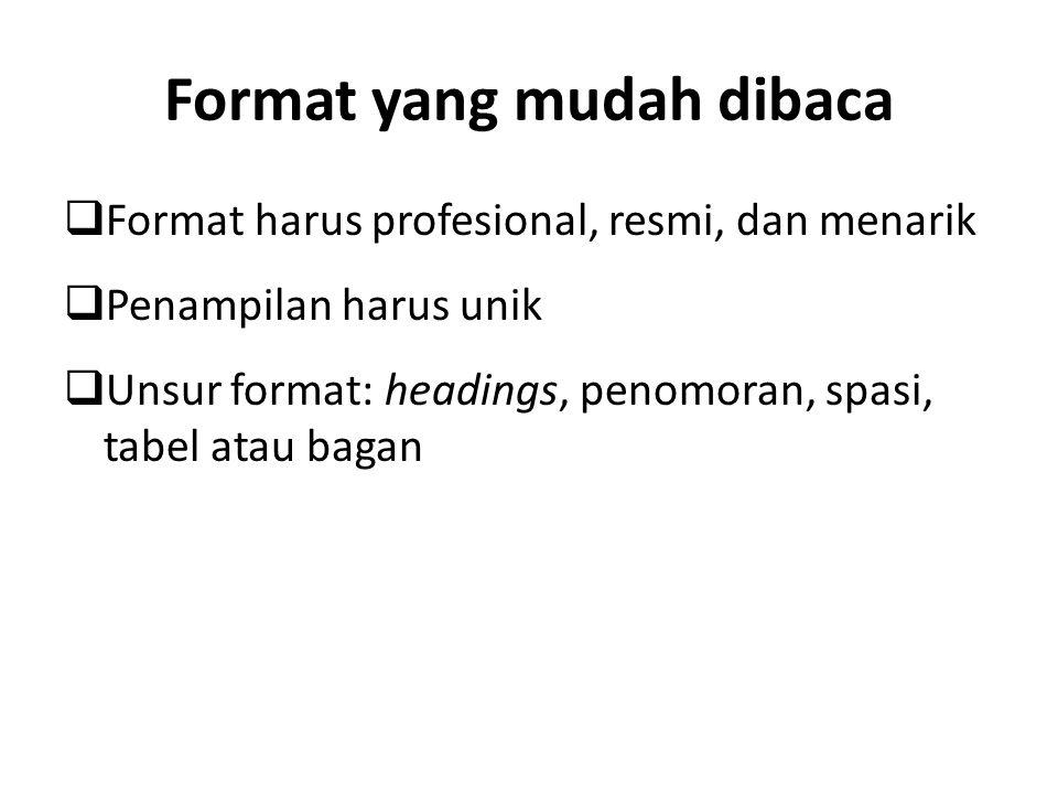 Format yang mudah dibaca