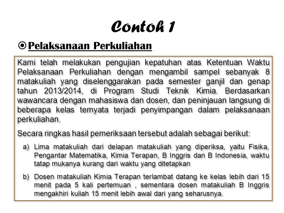 Contoh 1 Pelaksanaan Perkuliahan