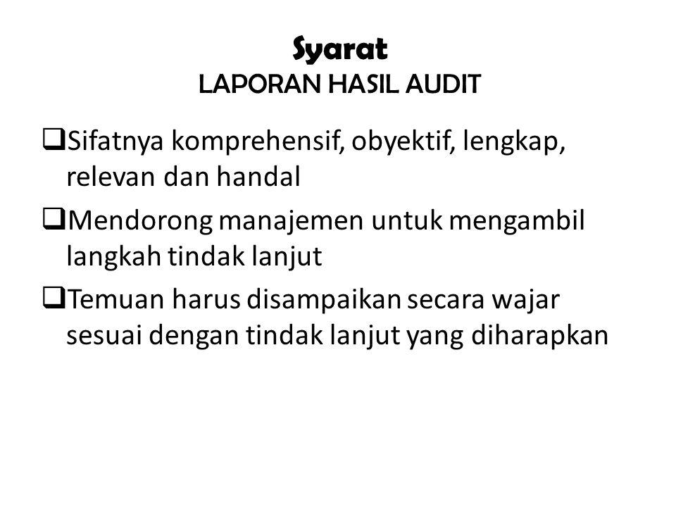 Syarat LAPORAN HASIL AUDIT