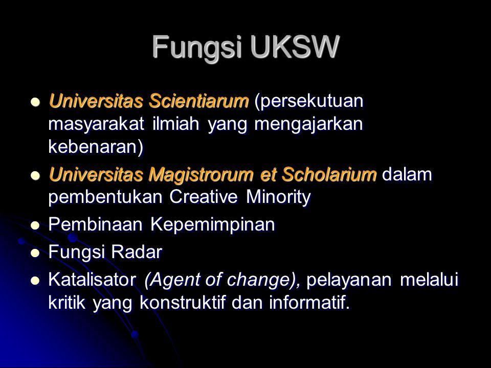 Fungsi UKSW Universitas Scientiarum (persekutuan masyarakat ilmiah yang mengajarkan kebenaran)