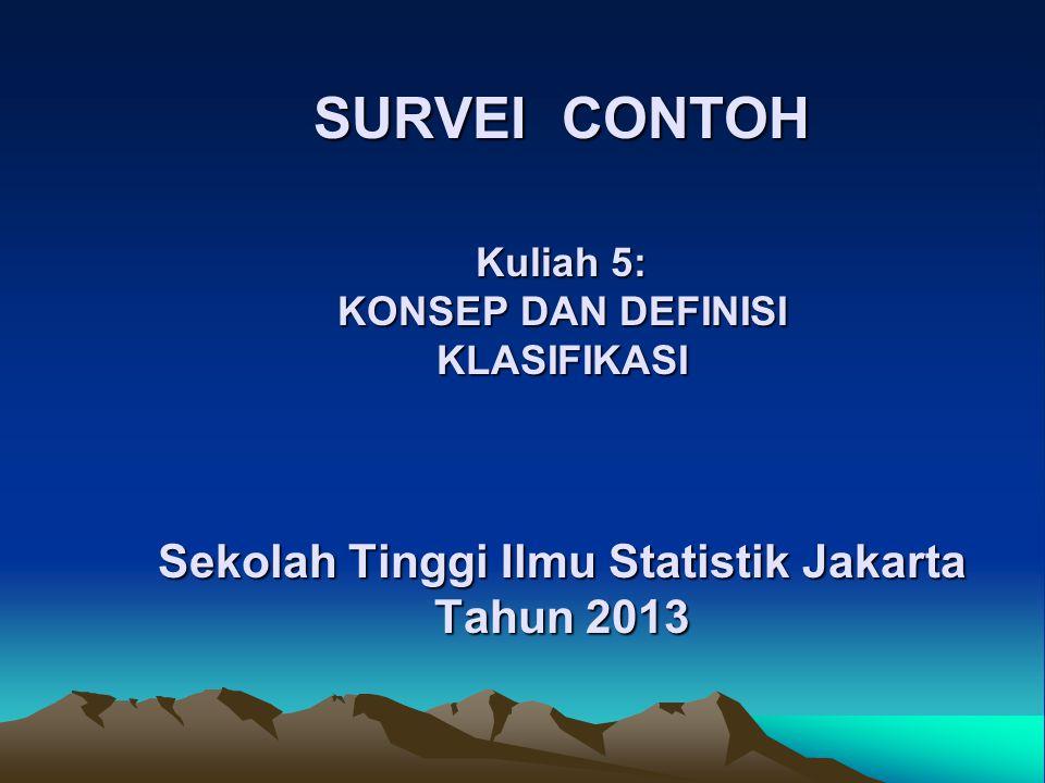 SURVEI CONTOH Kuliah 5: KONSEP DAN DEFINISI KLASIFIKASI Sekolah Tinggi Ilmu Statistik Jakarta Tahun 2013