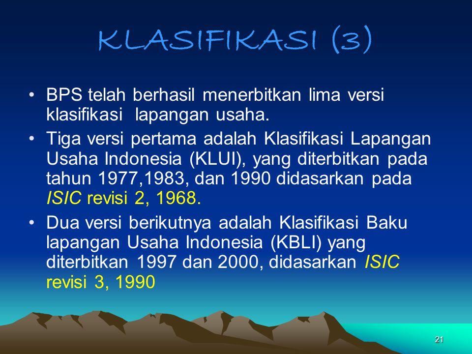 KLASIFIKASI (3) BPS telah berhasil menerbitkan lima versi klasifikasi lapangan usaha.