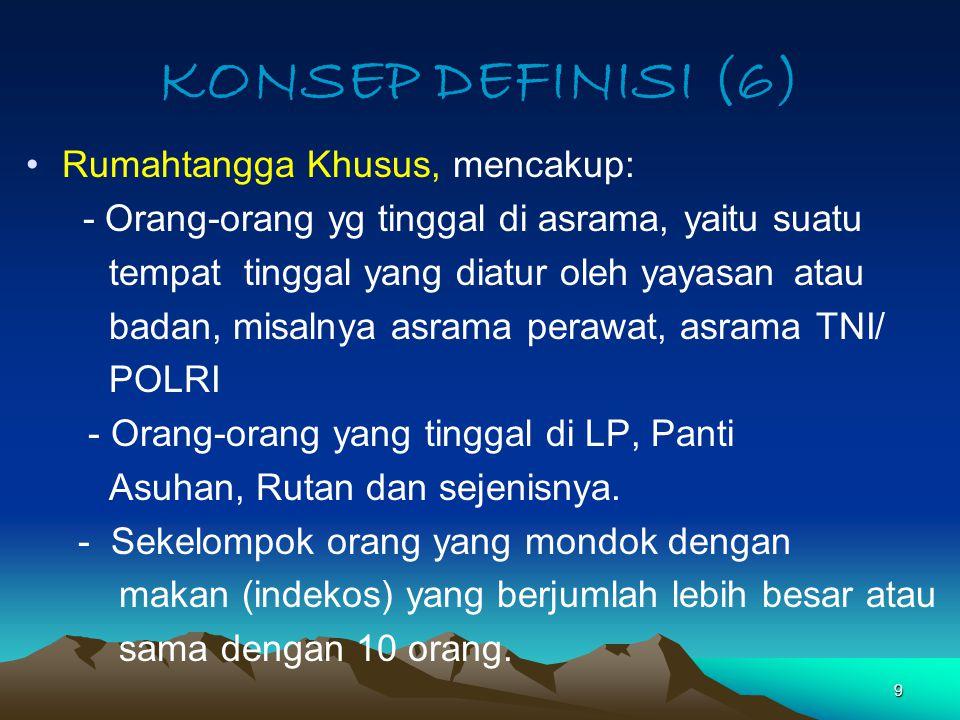 KONSEP DEFINISI (6) Rumahtangga Khusus, mencakup: