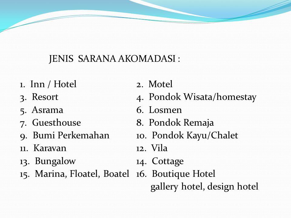 JENIS SARANA AKOMADASI : 1. Inn / Hotel 2. Motel 3. Resort 4
