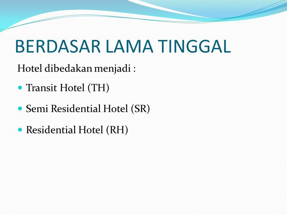 BERDASAR LAMA TINGGAL Hotel dibedakan menjadi : Transit Hotel (TH)