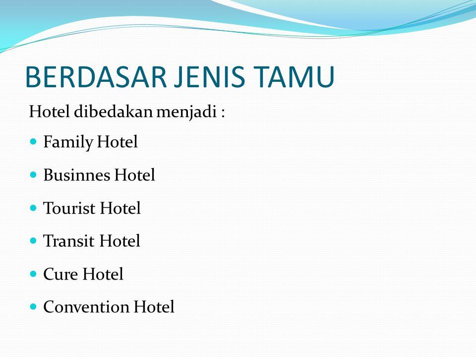 BERDASAR JENIS TAMU Hotel dibedakan menjadi : Family Hotel