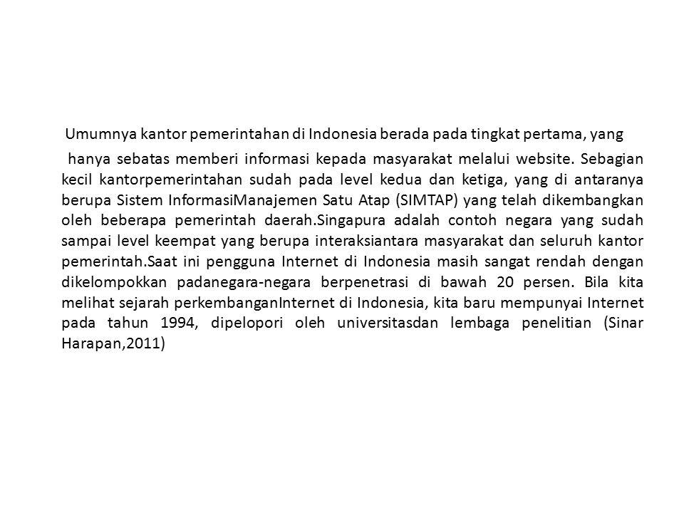Umumnya kantor pemerintahan di Indonesia berada pada tingkat pertama, yang hanya sebatas memberi informasi kepada masyarakat melalui website.