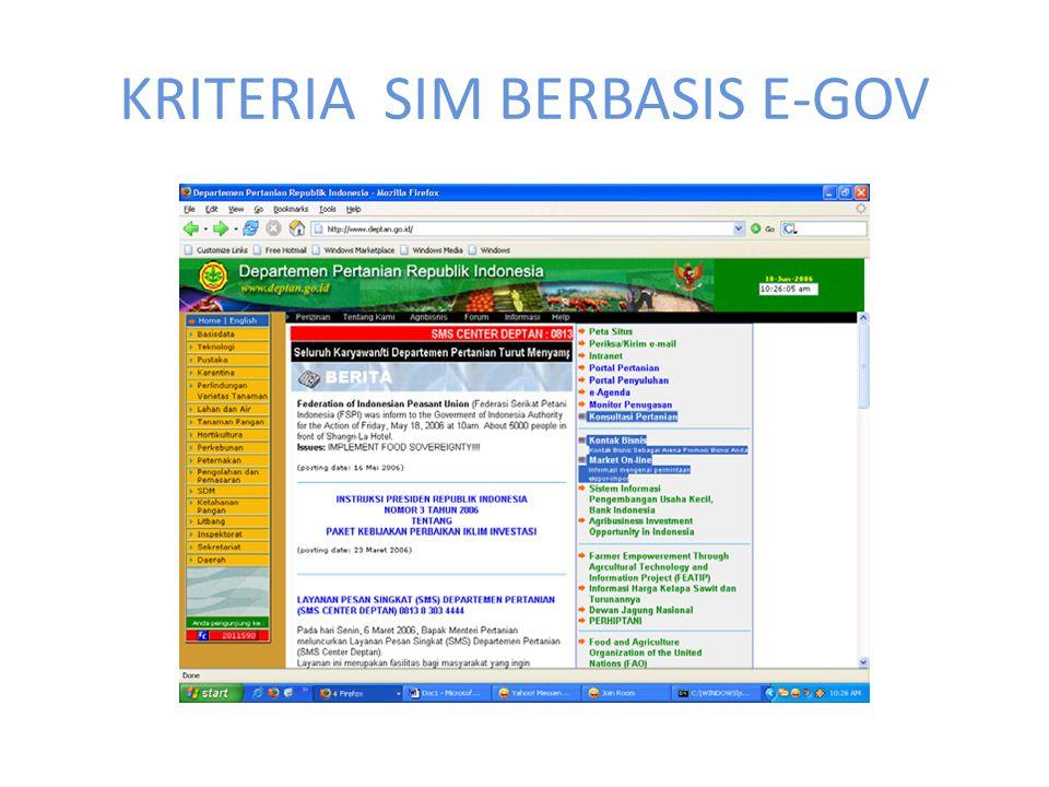 KRITERIA SIM BERBASIS E-GOV