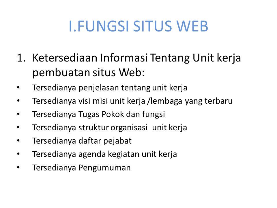 I.FUNGSI SITUS WEB Ketersediaan Informasi Tentang Unit kerja pembuatan situs Web: Tersedianya penjelasan tentang unit kerja.