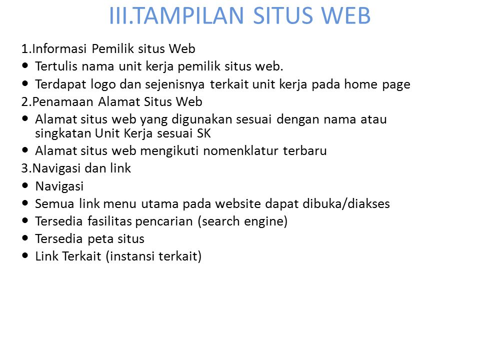 III.TAMPILAN SITUS WEB 1.Informasi Pemilik situs Web