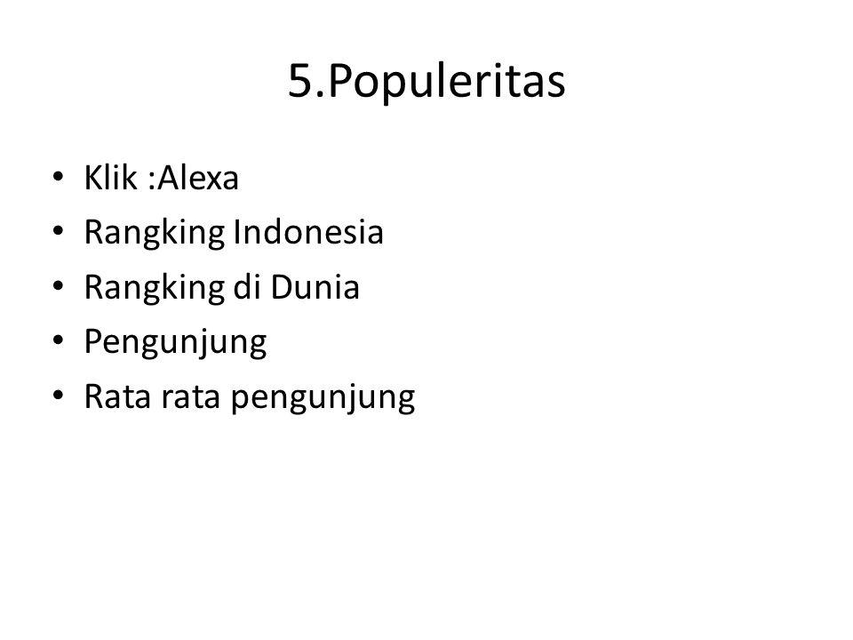 5.Populeritas Klik :Alexa Rangking Indonesia Rangking di Dunia