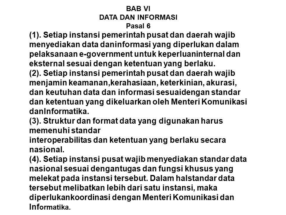 (3). Struktur dan format data yang digunakan harus memenuhi standar