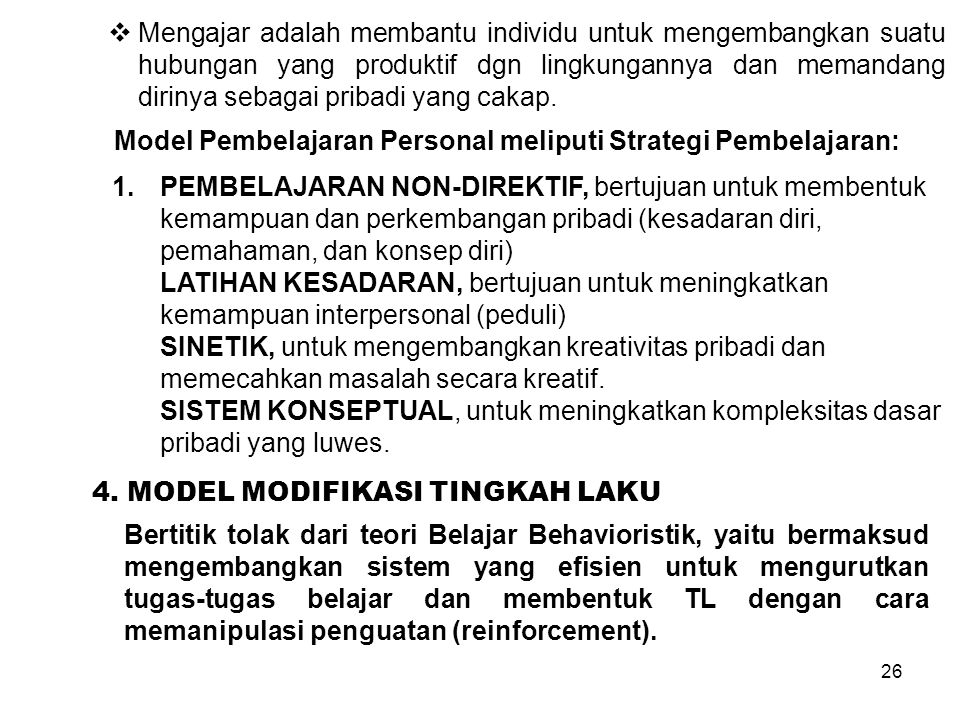 Model Pembelajaran Personal meliputi Strategi Pembelajaran: