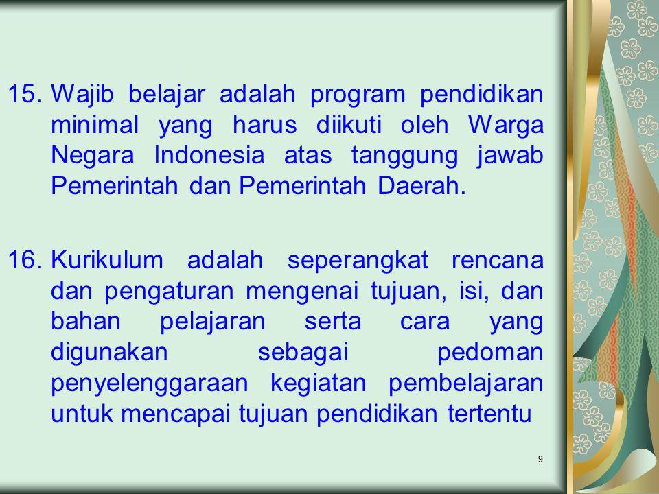 Wajib belajar adalah program pendidikan minimal yang harus diikuti oleh Warga Negara Indonesia atas tanggung jawab Pemerintah dan Pemerintah Daerah.