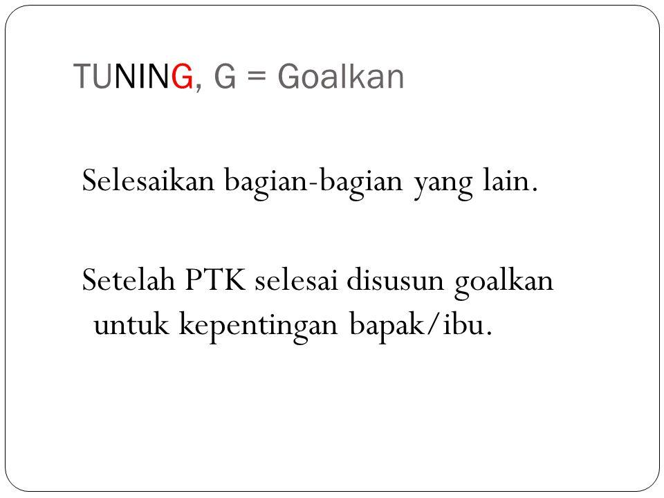 TUNING, G = Goalkan Selesaikan bagian-bagian yang lain.