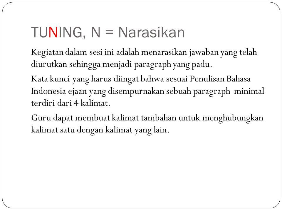 TUNING, N = Narasikan