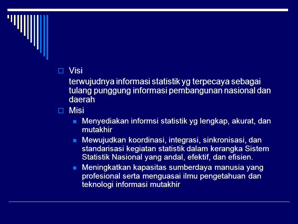 Visi terwujudnya informasi statistik yg terpecaya sebagai tulang punggung informasi pembangunan nasional dan daerah.