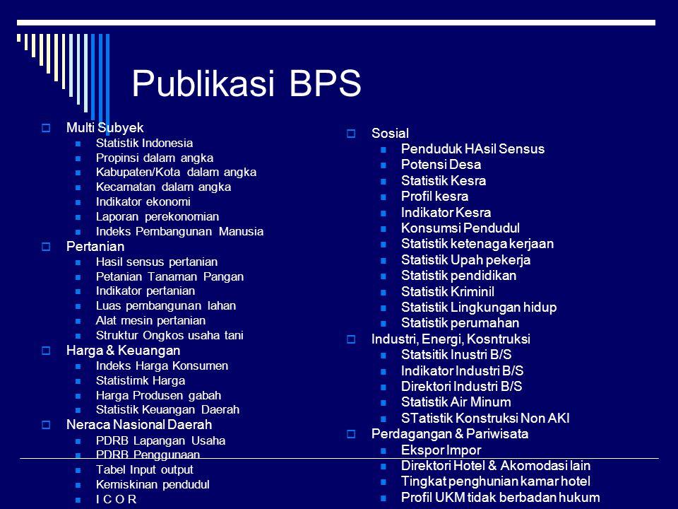 Publikasi BPS Multi Subyek Sosial Penduduk HAsil Sensus Potensi Desa