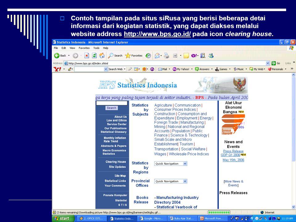 Contoh tampilan pada situs siRusa yang berisi beberapa detai informasi dari kegiatan statistik, yang dapat diakses melalui website address http://www.bps.go.id/ pada icon clearing house.