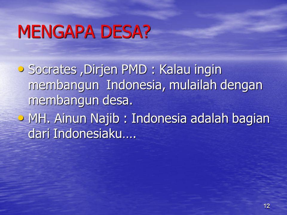 MENGAPA DESA Socrates ,Dirjen PMD : Kalau ingin membangun Indonesia, mulailah dengan membangun desa.