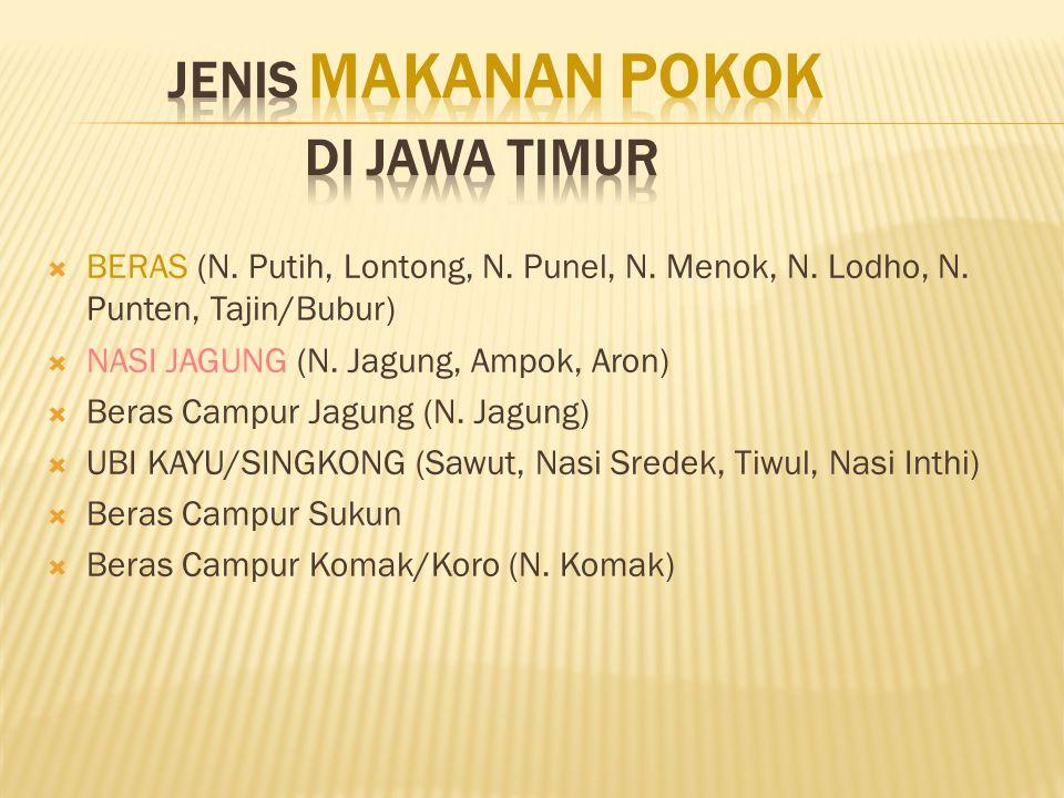 JENIS MAKANAN POKOK DI JAWA TIMUR