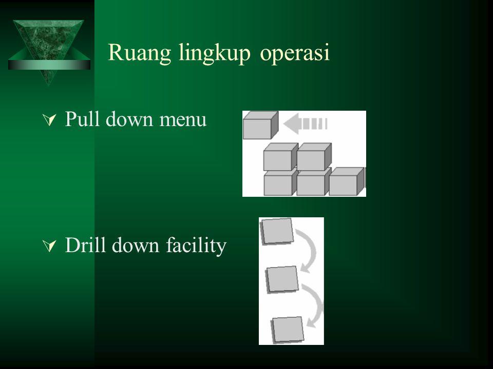 Ruang lingkup operasi Pull down menu Drill down facility