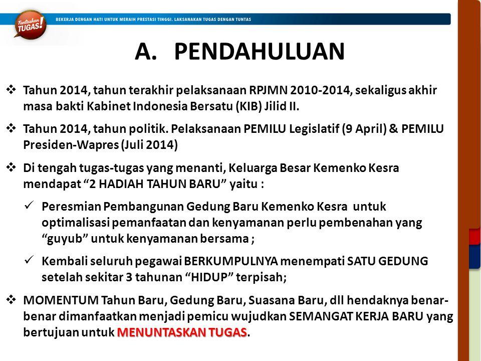 PENDAHULUAN Tahun 2014, tahun terakhir pelaksanaan RPJMN 2010-2014, sekaligus akhir masa bakti Kabinet Indonesia Bersatu (KIB) Jilid II.