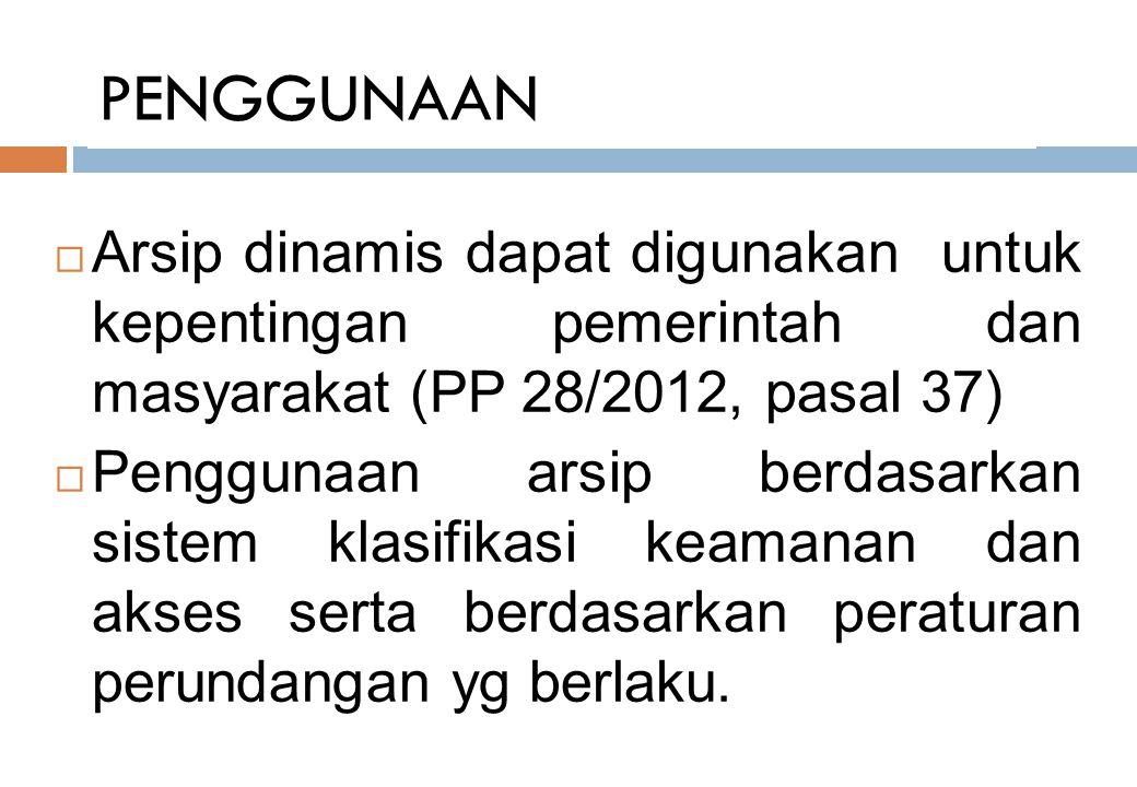 PENGGUNAAN Arsip dinamis dapat digunakan untuk kepentingan pemerintah dan masyarakat (PP 28/2012, pasal 37)