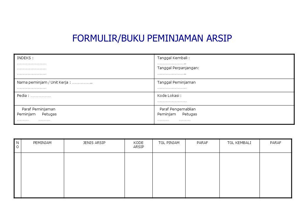 FORMULIR/BUKU PEMINJAMAN ARSIP