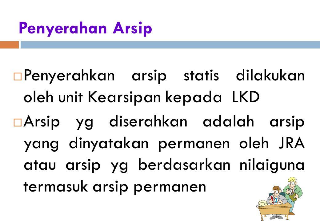 Penyerahkan arsip statis dilakukan oleh unit Kearsipan kepada LKD
