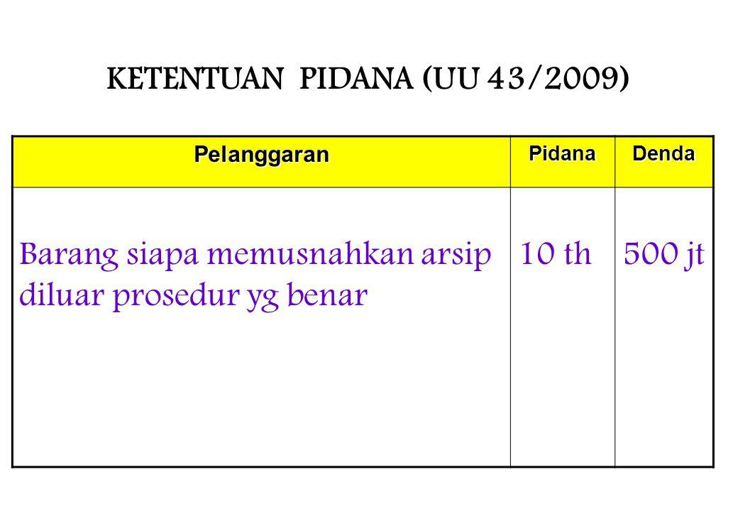 KETENTUAN PIDANA (UU 43/2009)