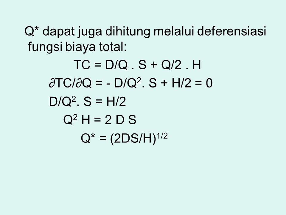 Q* dapat juga dihitung melalui deferensiasi fungsi biaya total: