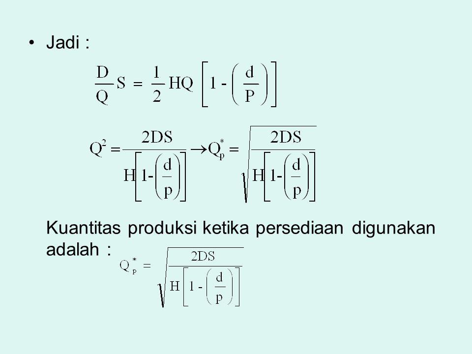 Jadi : Kuantitas produksi ketika persediaan digunakan adalah :