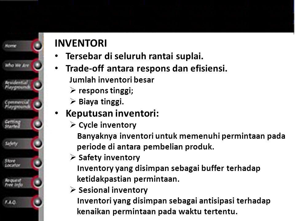 INVENTORI Keputusan inventori: Tersebar di seluruh rantai suplai.