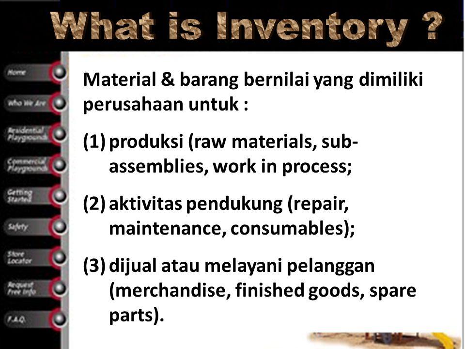 What is Inventory Material & barang bernilai yang dimiliki perusahaan untuk : produksi (raw materials, sub-assemblies, work in process;