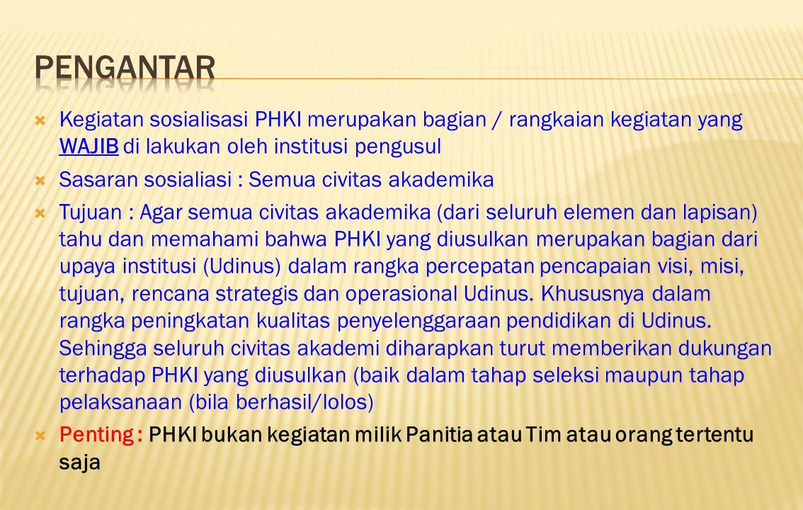 PENGANTAR Kegiatan sosialisasi PHKI merupakan bagian / rangkaian kegiatan yang WAJIB di lakukan oleh institusi pengusul.