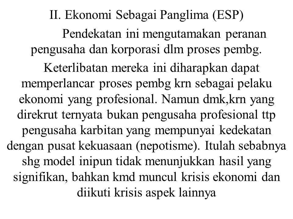II. Ekonomi Sebagai Panglima (ESP)