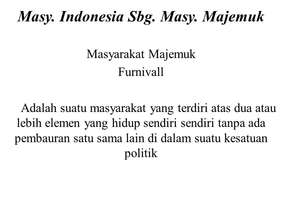 Masy. Indonesia Sbg. Masy. Majemuk
