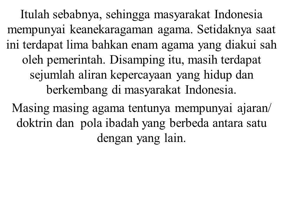 Itulah sebabnya, sehingga masyarakat Indonesia mempunyai keanekaragaman agama. Setidaknya saat ini terdapat lima bahkan enam agama yang diakui sah oleh pemerintah. Disamping itu, masih terdapat sejumlah aliran kepercayaan yang hidup dan berkembang di masyarakat Indonesia.
